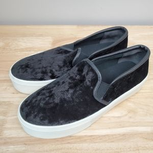 BAR III Hugo Crushed Velvet Black Slip On Sneakers